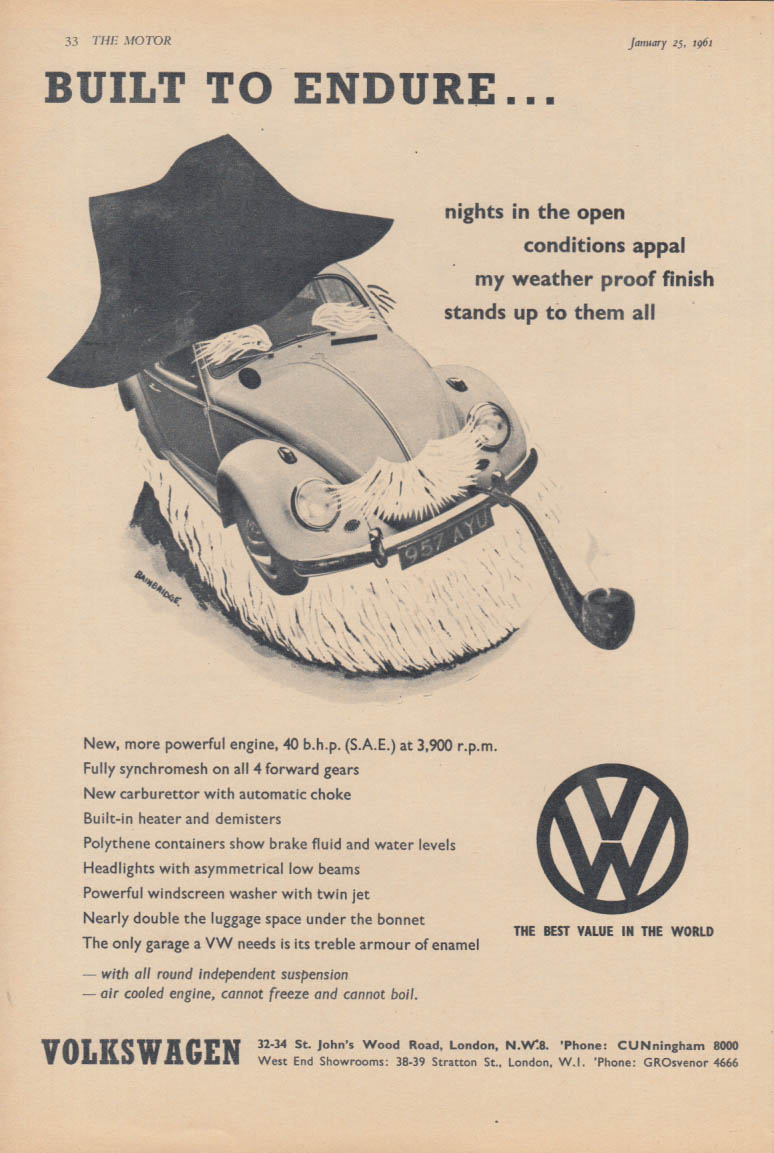 Built to endure nights in the open Volkswagen ad 1961 The Motor UK