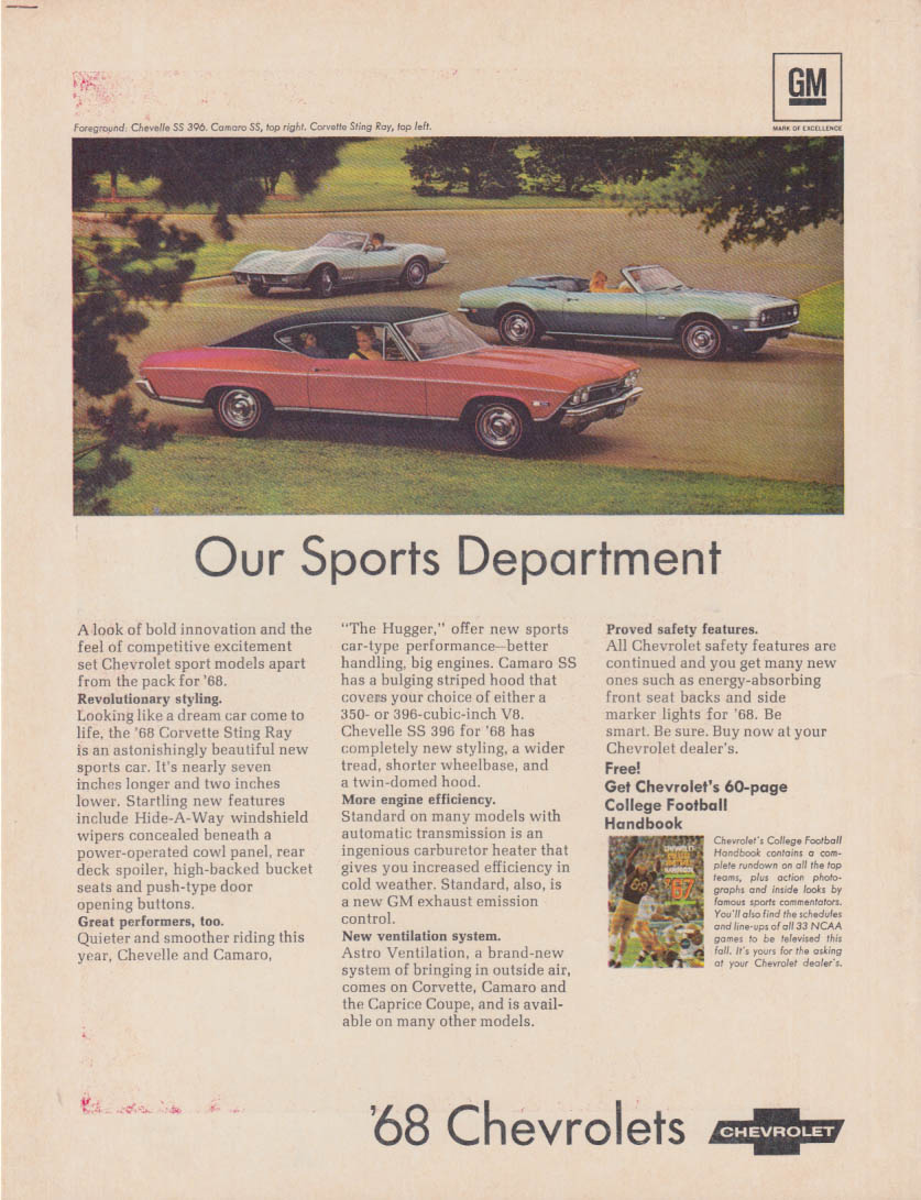 Our Sports Department - Chevrolet Corvette Chevelle Camaro ad 1968 fb
