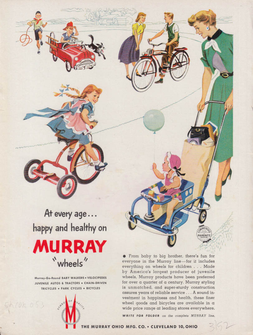 At every age happy & healthy Murray bicycle tricycle pedal car stroller ad 1952