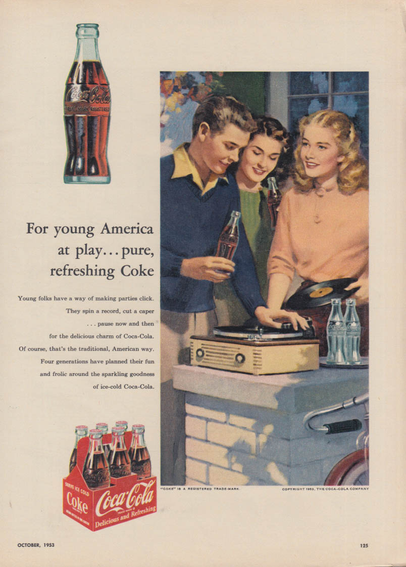 For young America at play Coca-Cola ad 1953 teens play phonograph