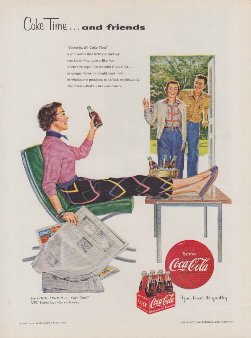Coke Time and friends Coca-Cola ad 1954 woman in slacks lounging GH