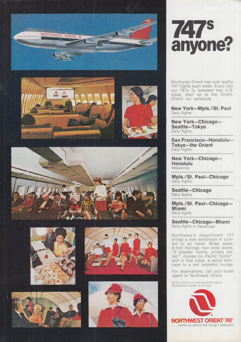 747s anyone? Northwest Orient Airlines Boeing 747 ad 1970 NY