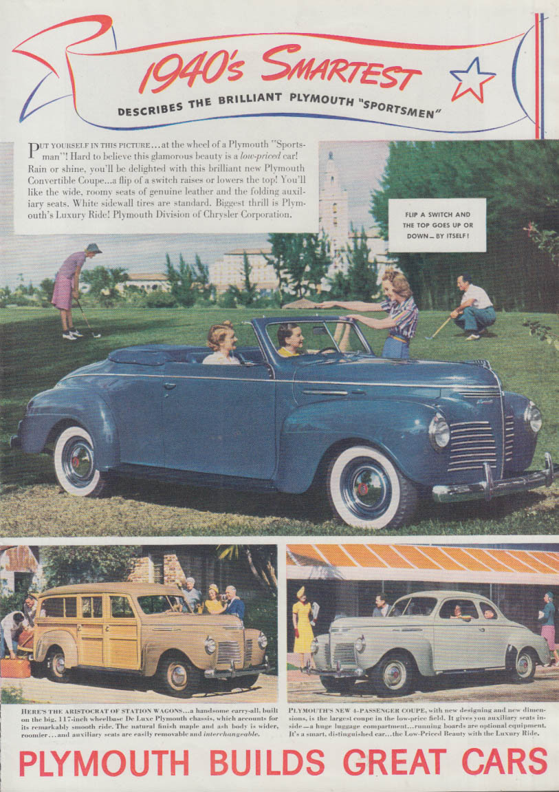 1940's Smartest - Plymouth Convertible Station Wagon & Coupe ad T