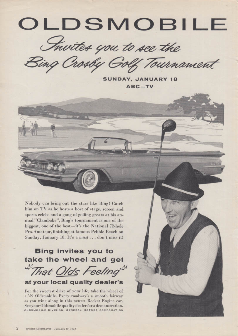 See the Bing Crosby Golf Tournament on ABC Oldsmobile 98