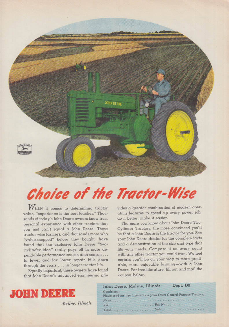 Choice of the Tractor-wise - John Deere ad 1952 FJ
