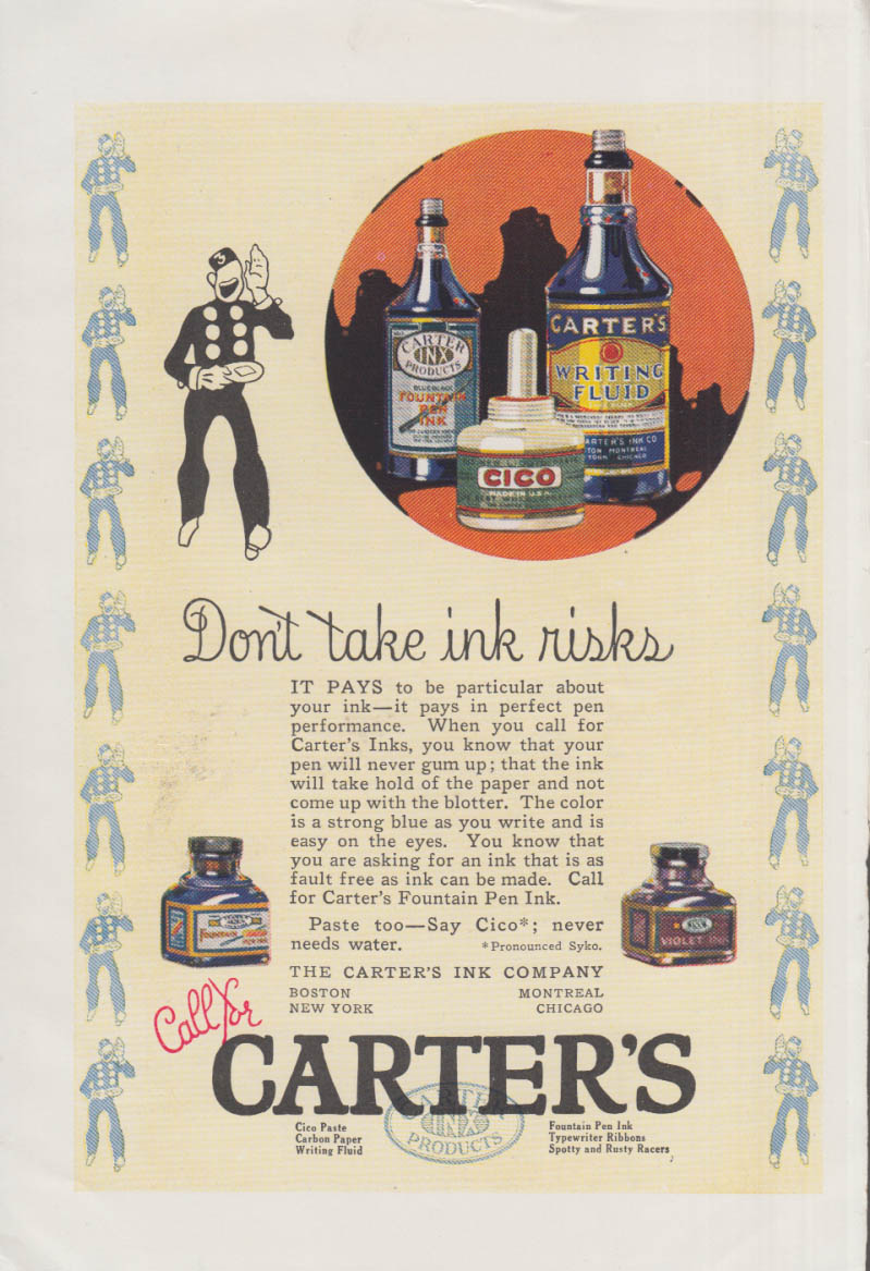 Don't take ink risks - Carter's Fountain Pen Ink ad ca 1920s