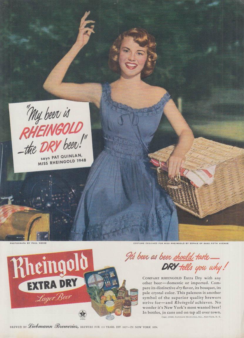 Miss Rheingold Beer Pat Quinlan ad 1948 picnic basket