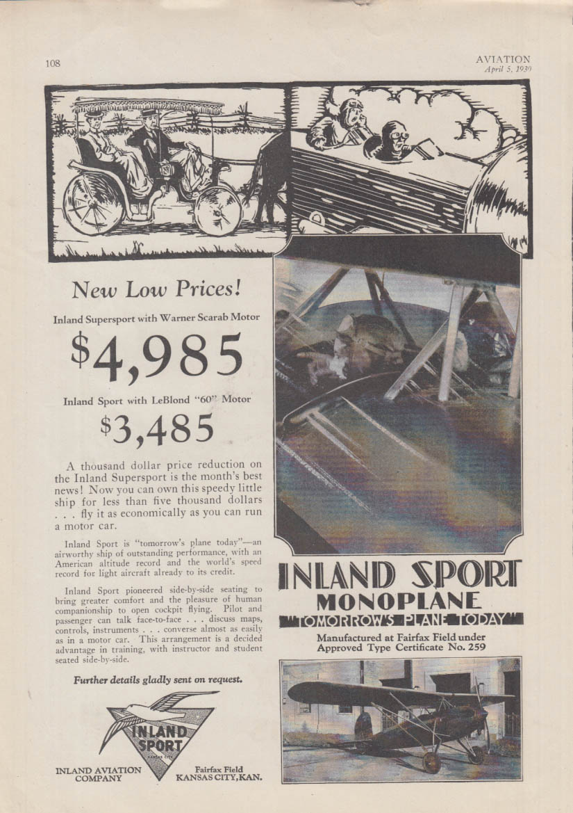 Inland Sport / Crescent Aircraft Chamberlin 8-Seater Monoplane ad 1930