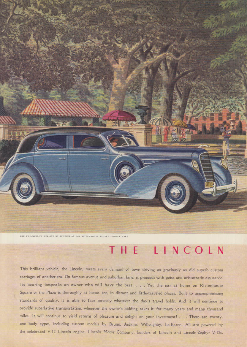 This brilliant vehicle meets all demands Lincoln 2-window Berline ad 1938 NY