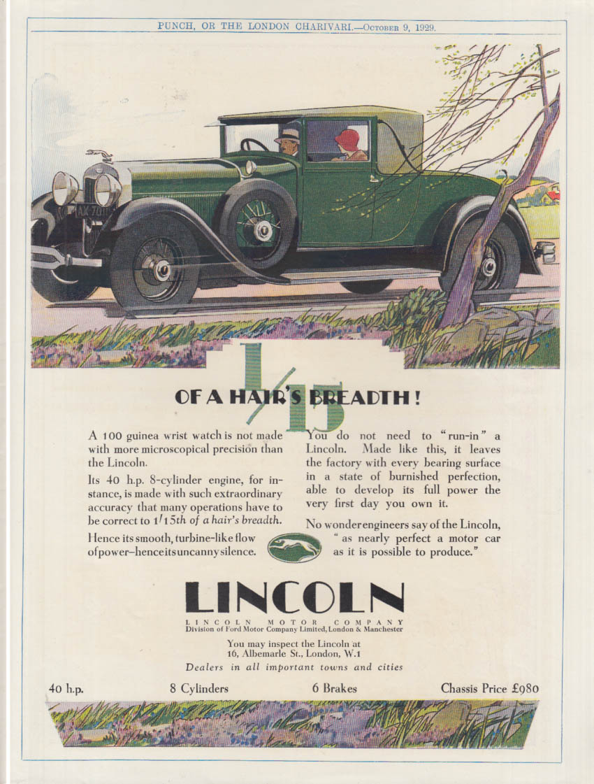 1/15the or a Hair's Breadth - Lincoln Cabriolet Coupe ad 1930 UK
