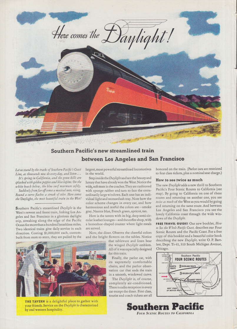 Here comes the Southern Pacific Daylight! Railroad ad 1937 T