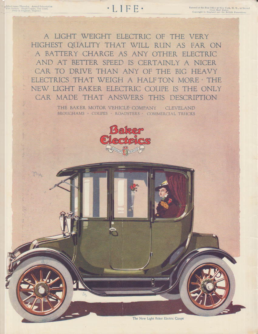 A Light Weight Electric of the Very Highest Quality Baker Motor Car ad 1915