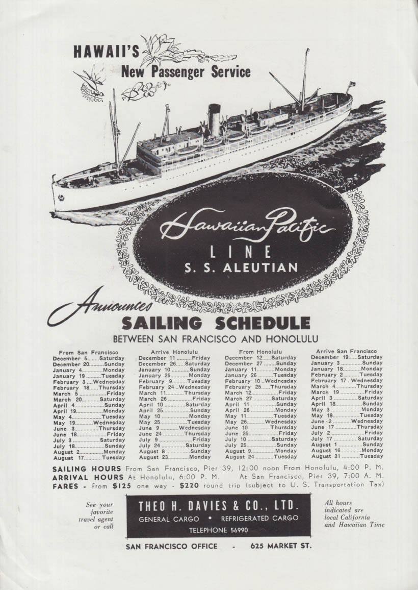 Hawaii Pacific Line S S Aleutian Sailing Schedule ad 1954