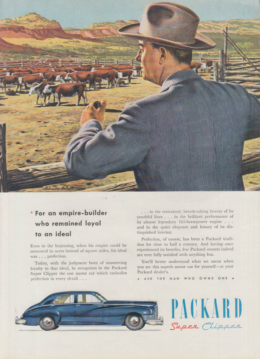For an empire-builder who remained loyal Packard Super Clipper ad 1947 NY