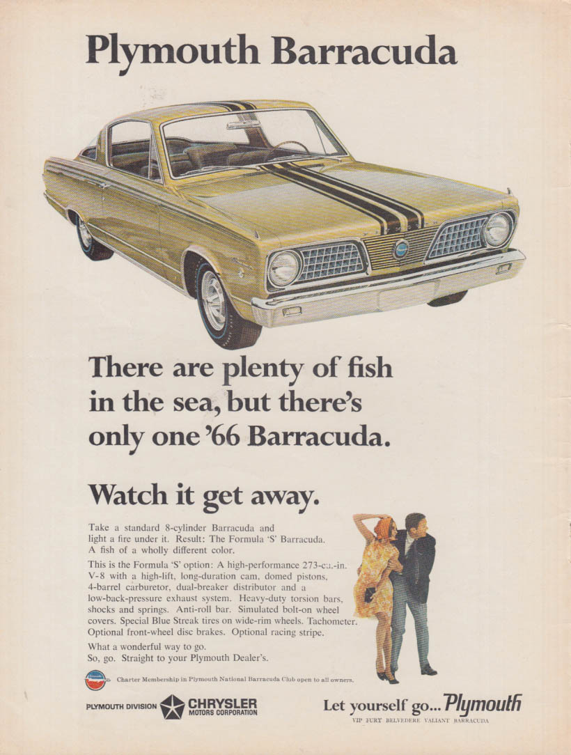 Plenty of fish in the sea but only one Plymouth Barracuda ad 1966