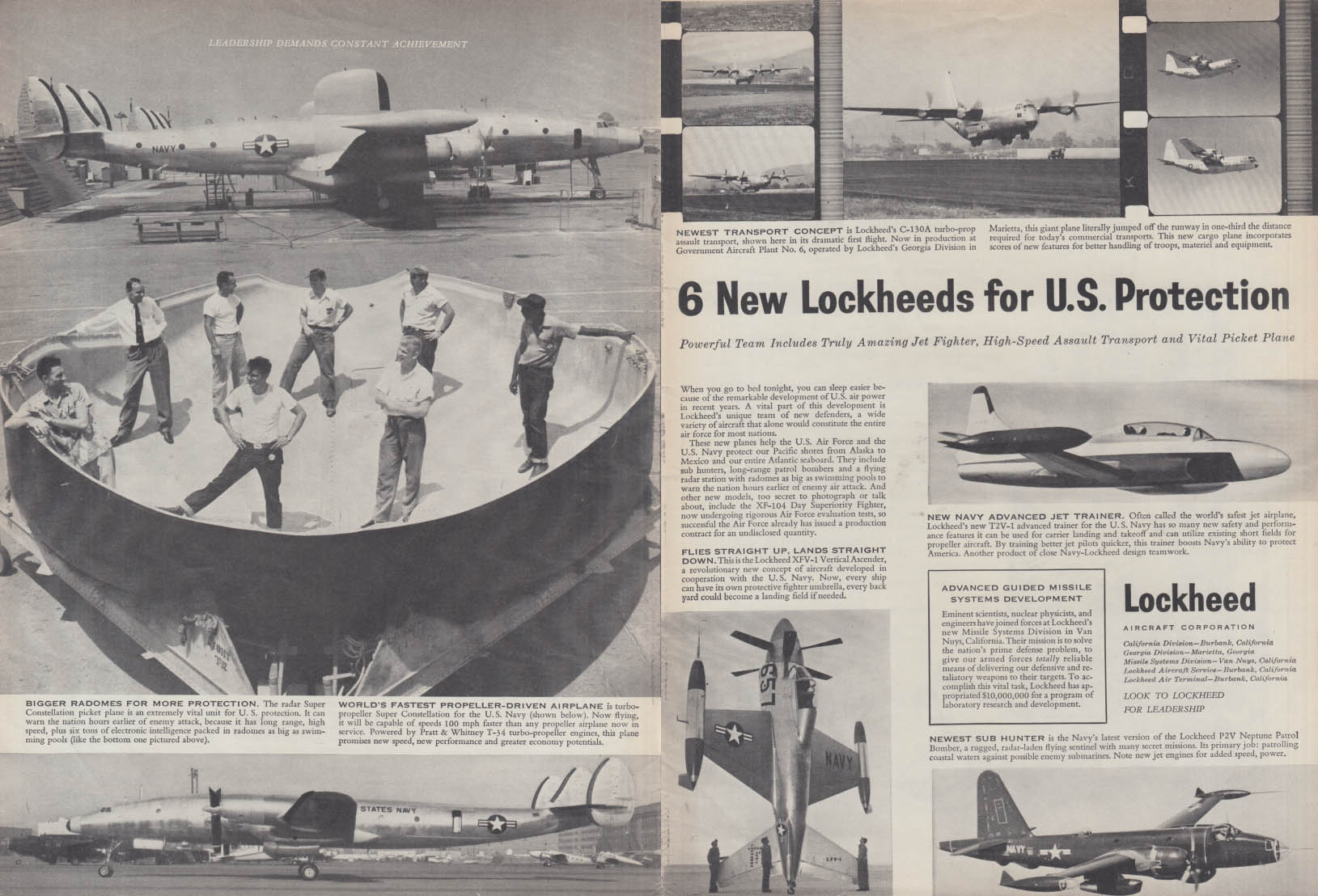 6 new Lockheeds for US Protection P2V Constellation XFV-1 C-130A T2V-1 ad 1954