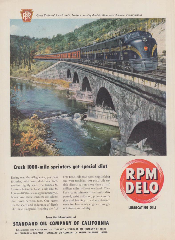 Crack 1000-mile sprinters Pennsylvania RR St Louisian RMP DELO ad 1950 T