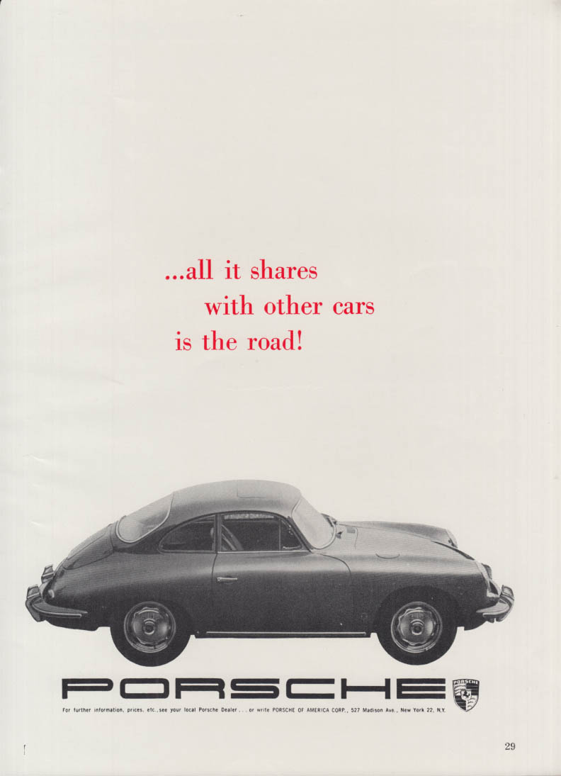All it shares with other cars is the road! Porsche 356 ad 1962 NYAS