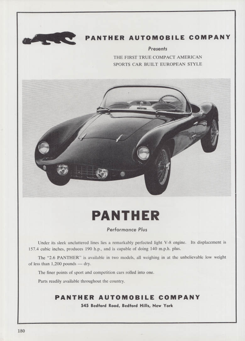 1st True Compact American Sports Car - 2.6 Panther ad 1962