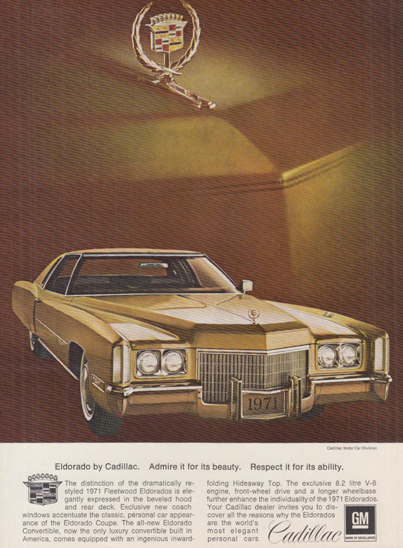 Admire it for its beauty Respect it for its ability Cadillac Eldorado ad 1971 AS