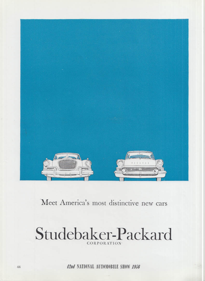 America's most distinctive cars Studebaker Hawk & Packard ad 1956