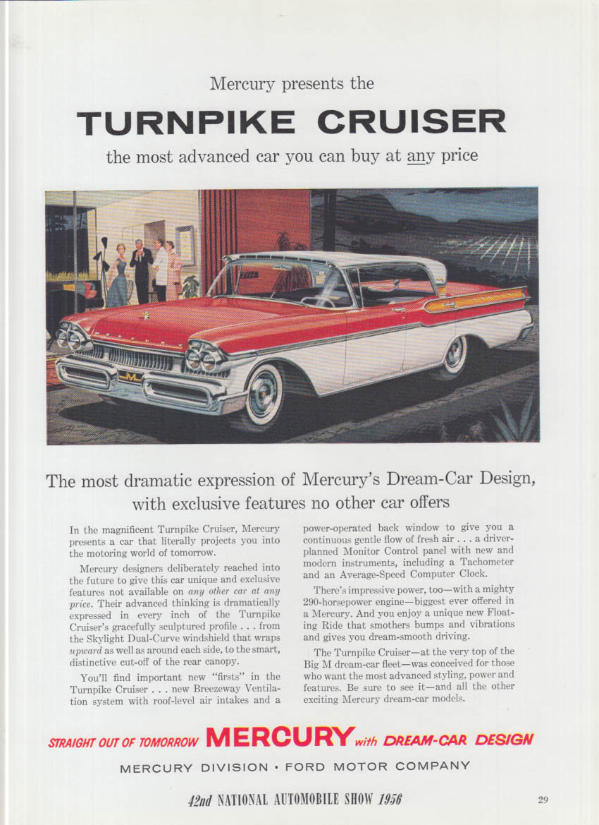Most advanced car at any price Mercury Turnpike Cruiser ad 1956