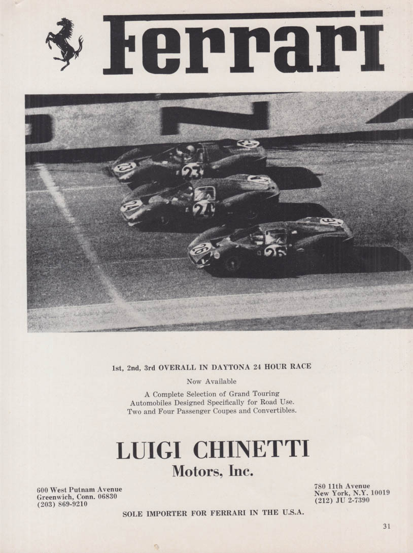 1st 2nd 3rd Overall in Daytona 24 Hour Race - Ferrari ad 1967