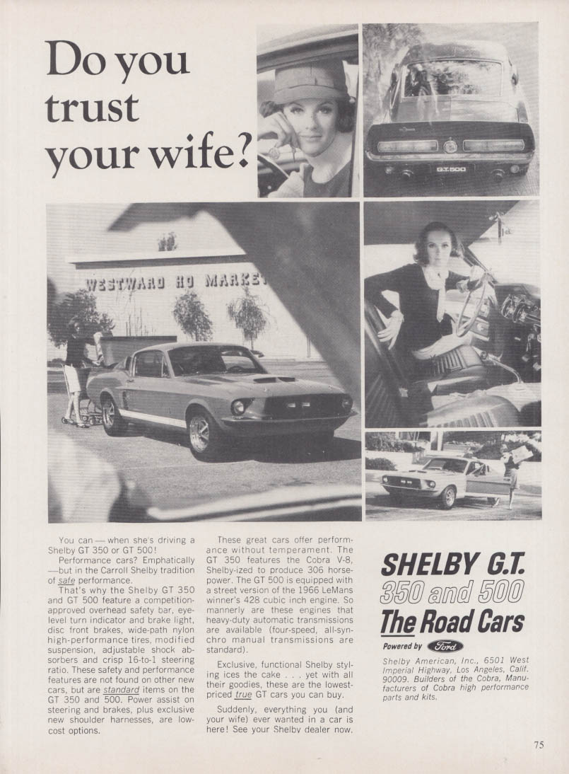 Do you trust your wife? Shelby GT 350 & 500 ad 1967 NY Auto Show program
