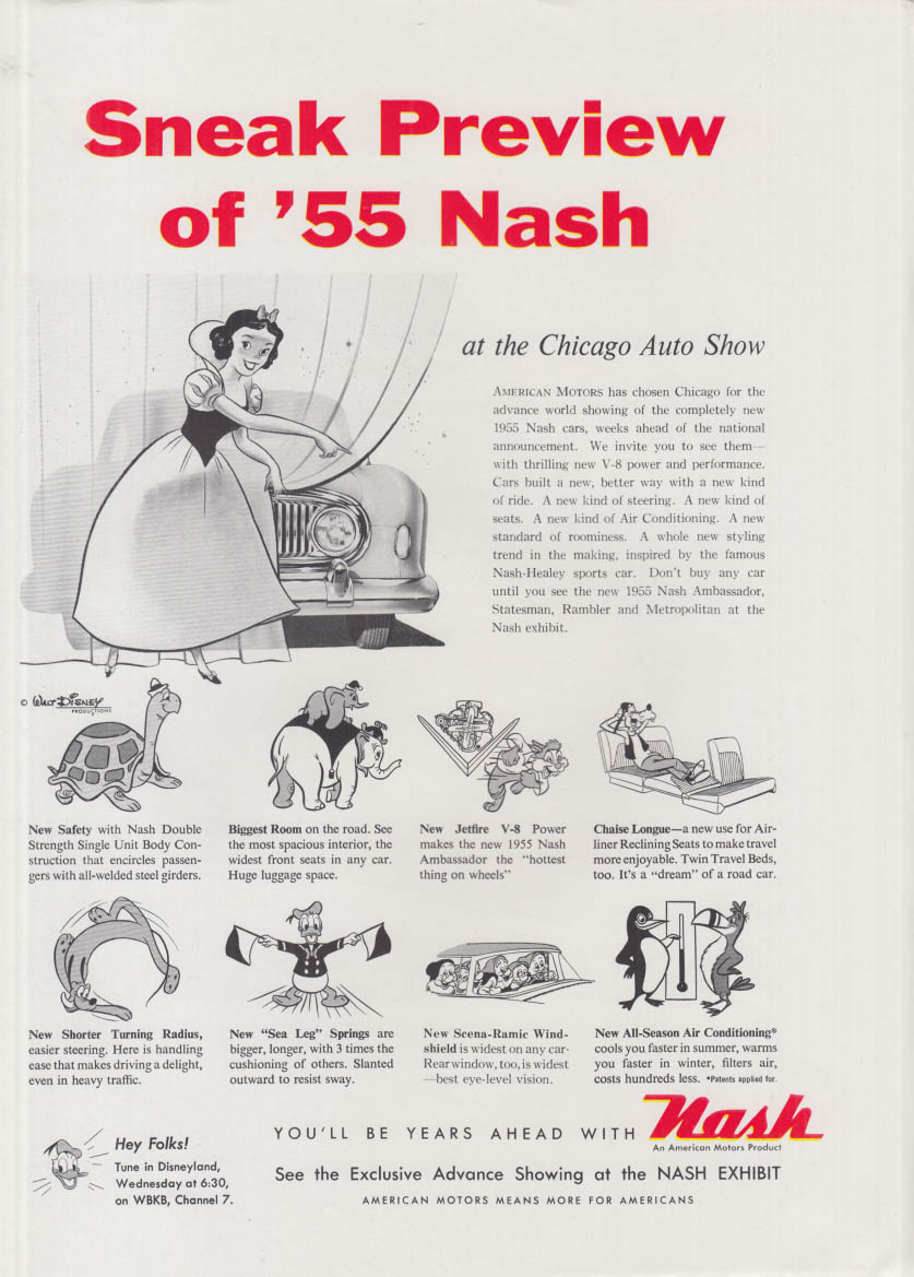 Sneak Preview of the 1955 Nash ad Snow White & other Disney Characters
