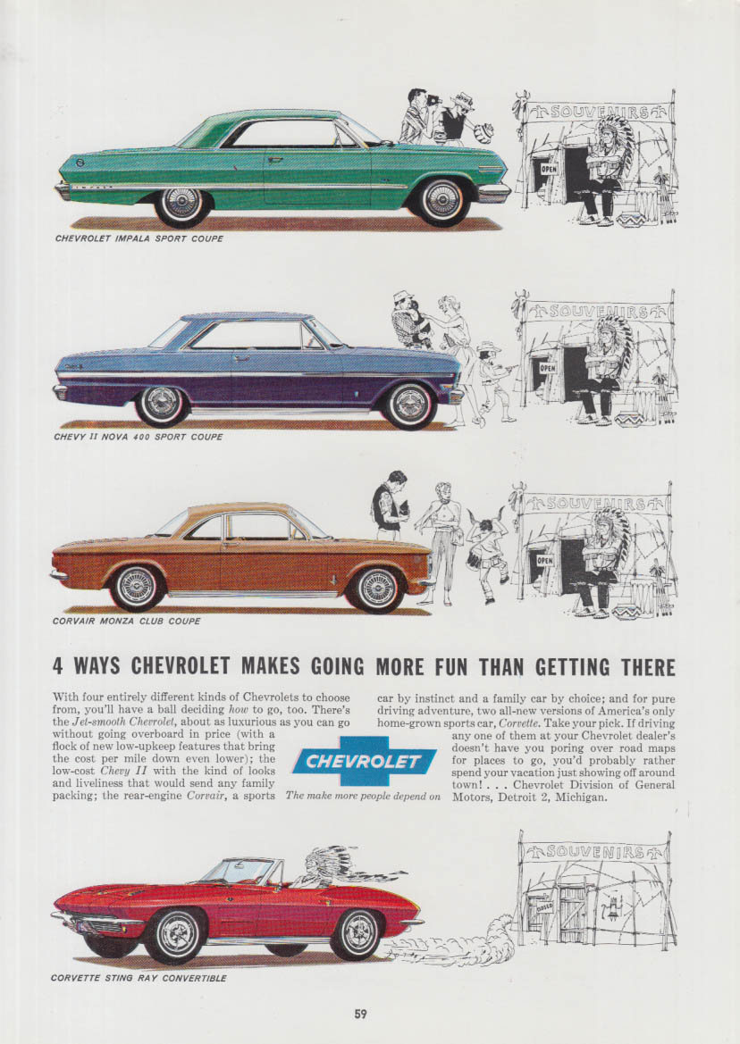 4 ways make going more fun Chevrolet Corvette Corvair Chevy II Impala ad 1963 CA