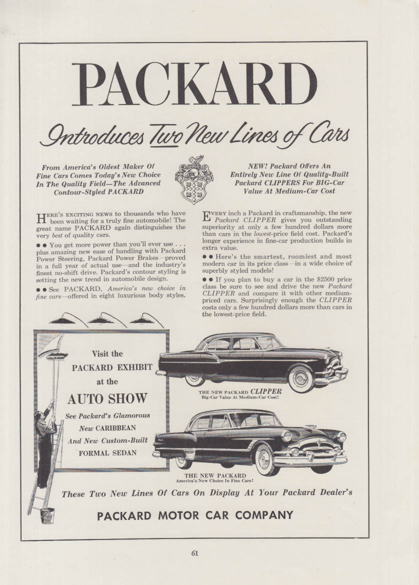 Packard Introduces Two New Lines - Clipper & Packard ad 1953