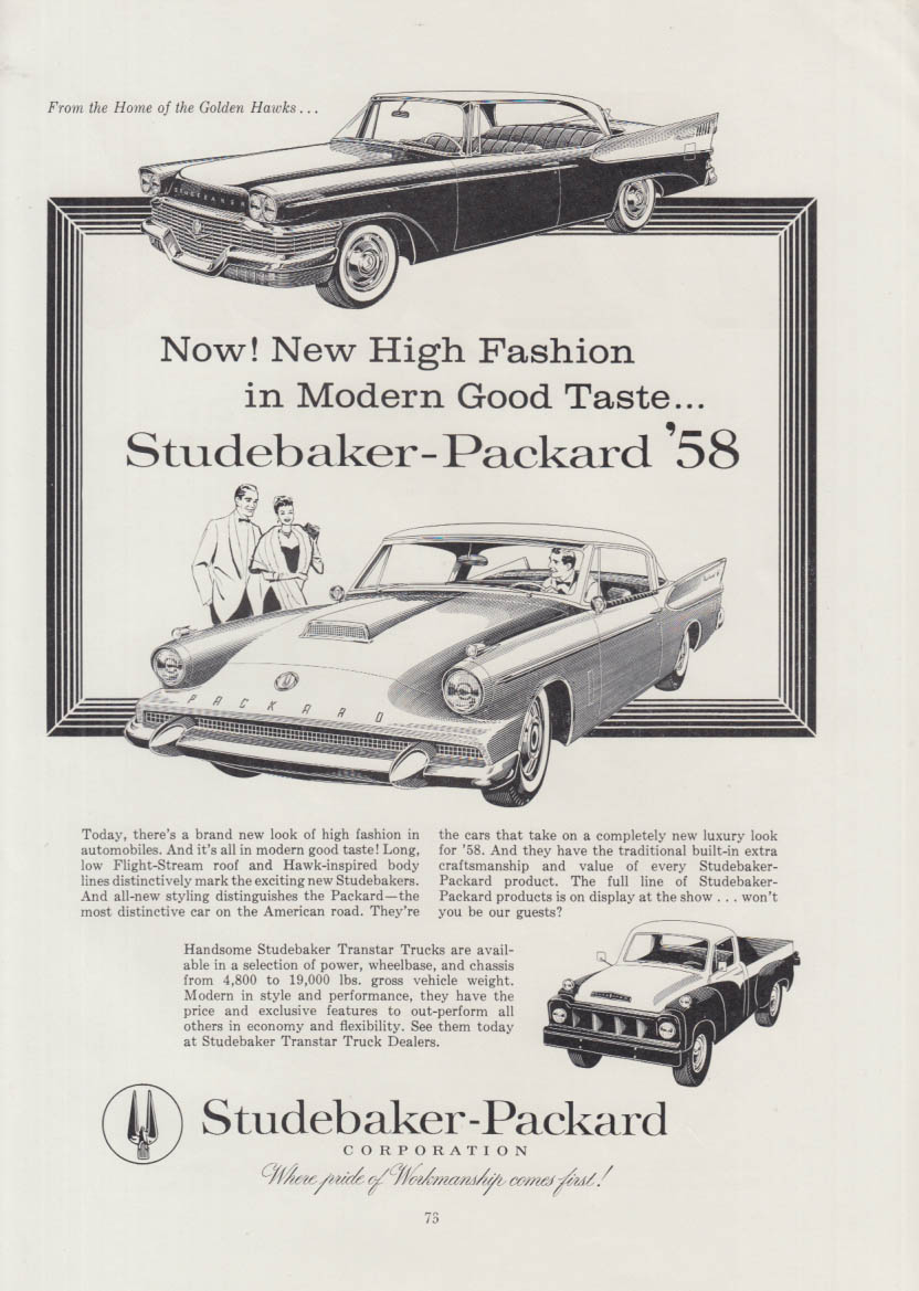 New High Fashion in Modern Good Taste - Studebaker & Packard Hawk ad 1958
