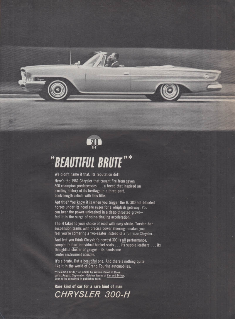 Image for Beautiful Brute - Chrysler 300-H Convertible ad 1962 MT