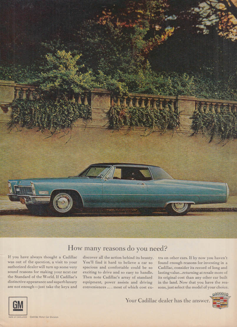 How many reasons do you need? Cadillac Coupe de Ville ad 1967 T