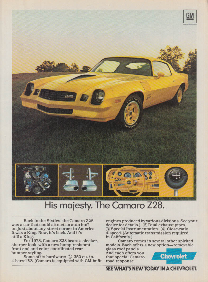 Ads Chevrolet Camaro 1978 Brochure His Majesty The Z28 Ad