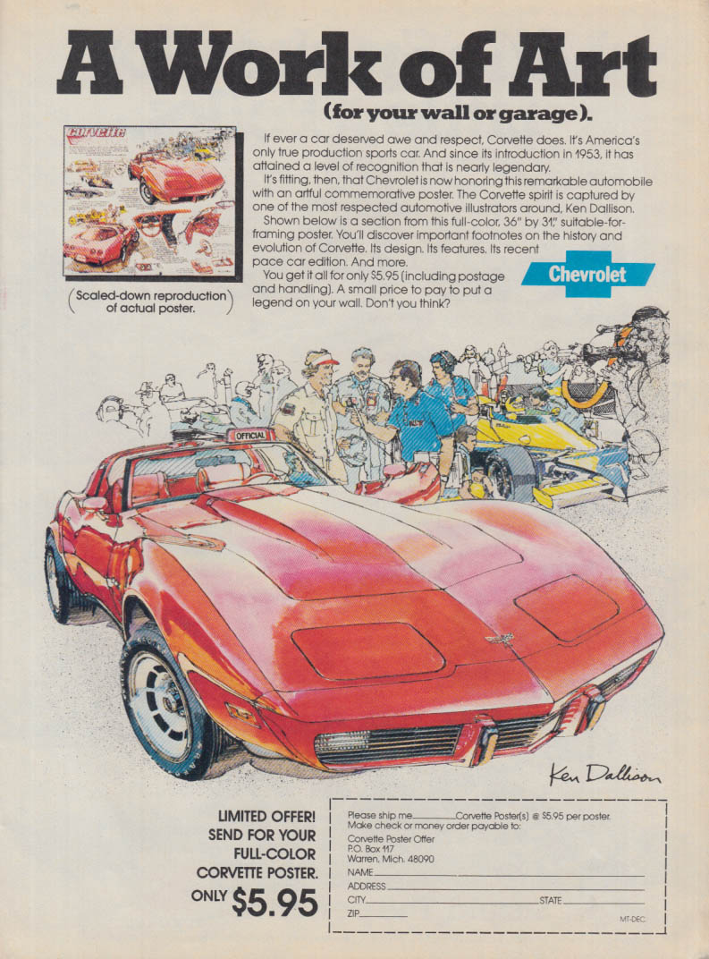A work of Art Chevrolet Corvette ad 1979