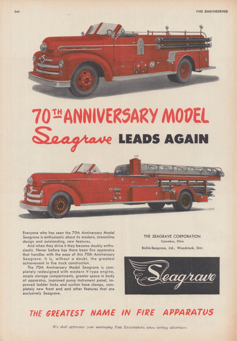 70th Anniversary Model Seagrave Firetrucks ad 1951