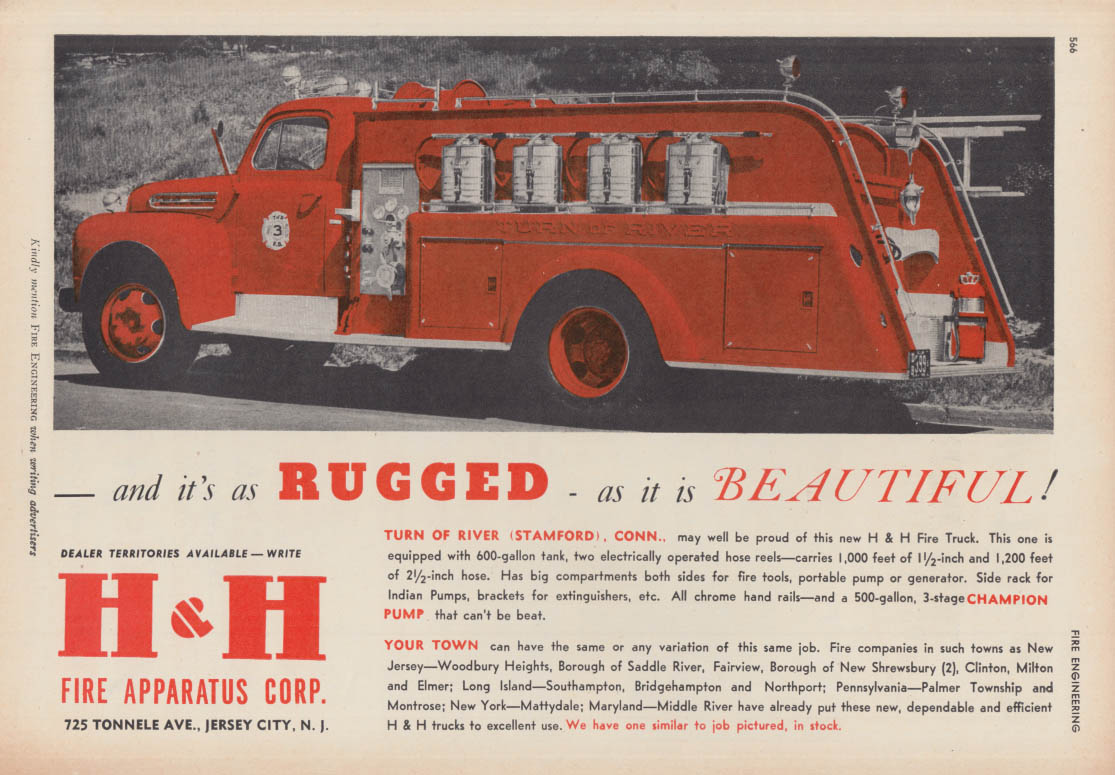 As rugged as it is beautiful H&H Pumper Firetruck ad 1951