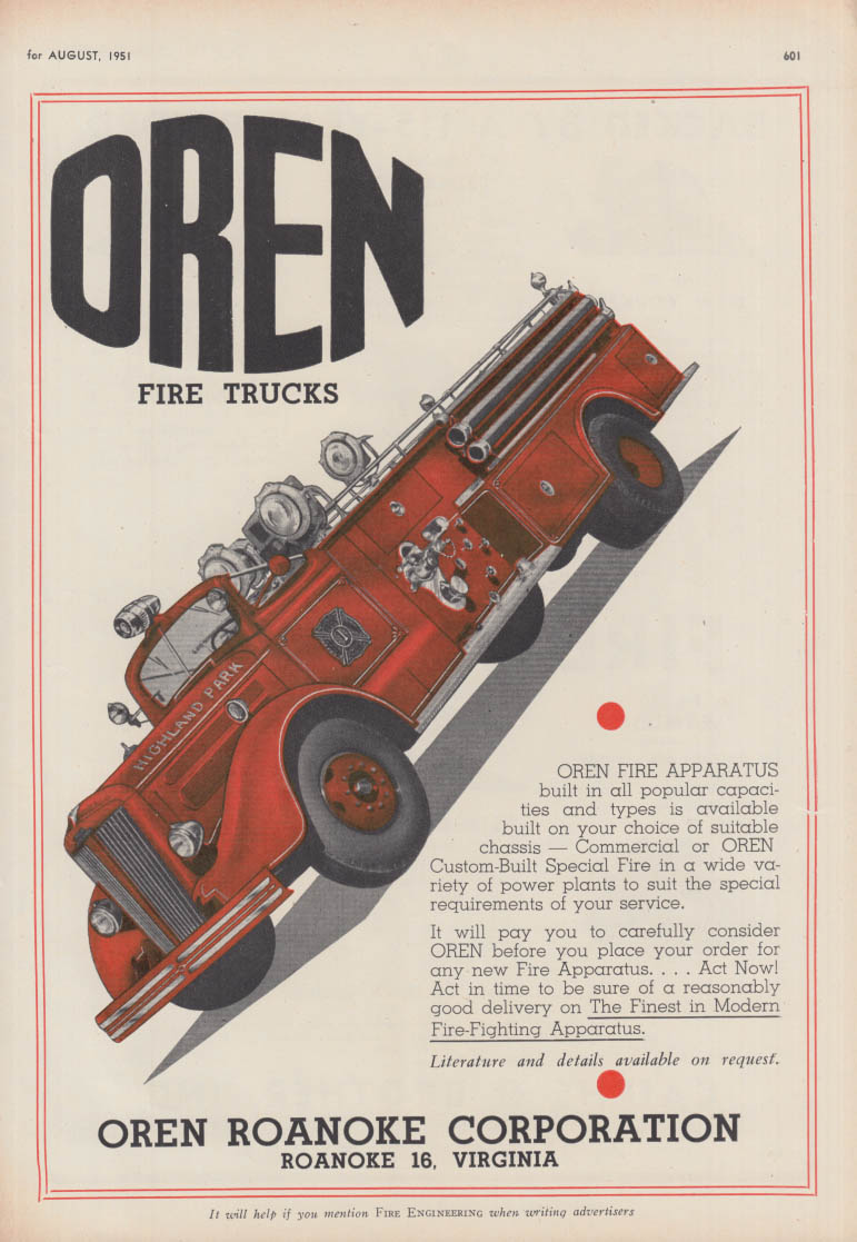 Built is all popular capacities - Oren Roanoke Firetrucks ad 1951
