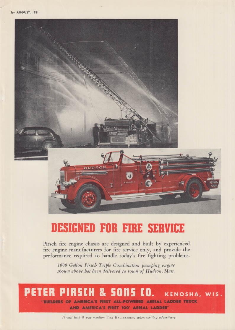 Designed for Service Pirsch Pumper / Wyoming Twp chooses FWD firetruck ad 1951