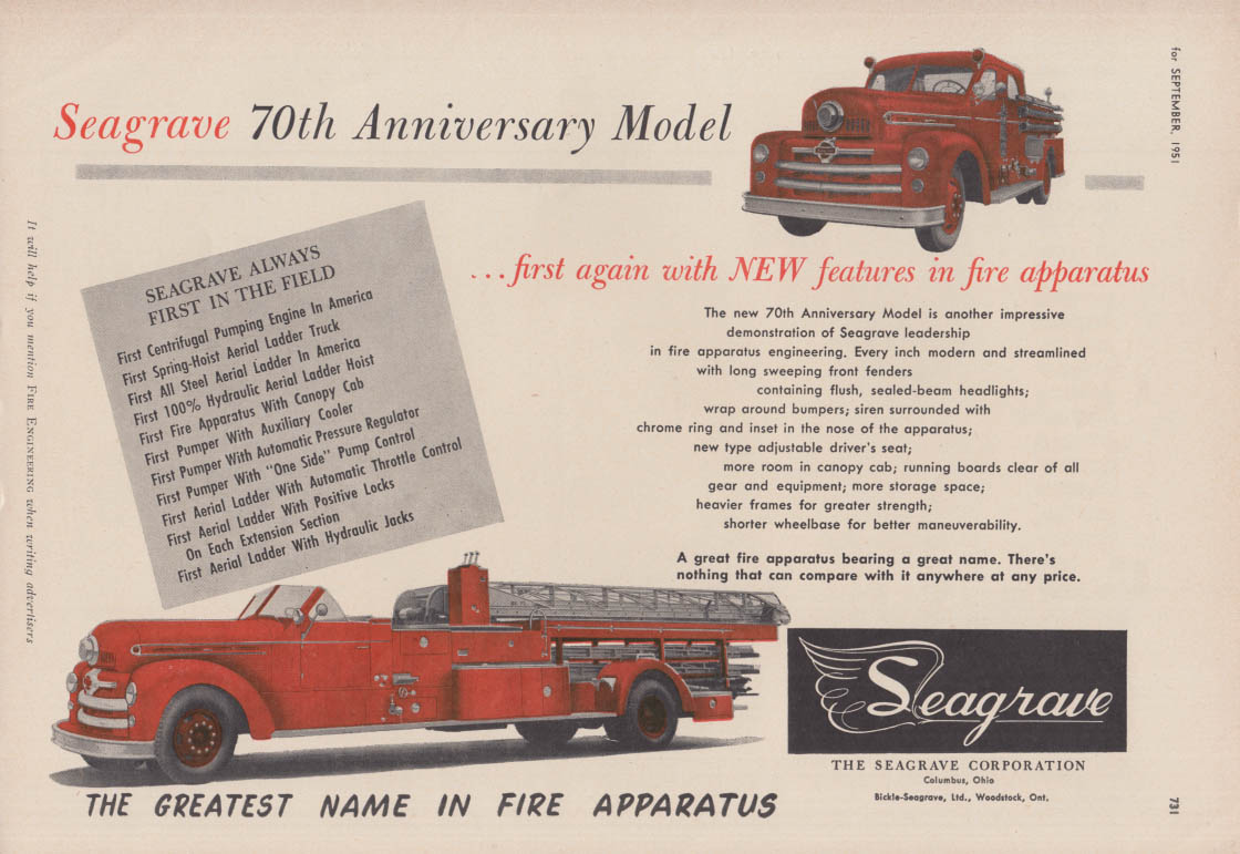 Image for 70th Anniversary Model Pumper & Lader firetruck Seagrave ad 1951