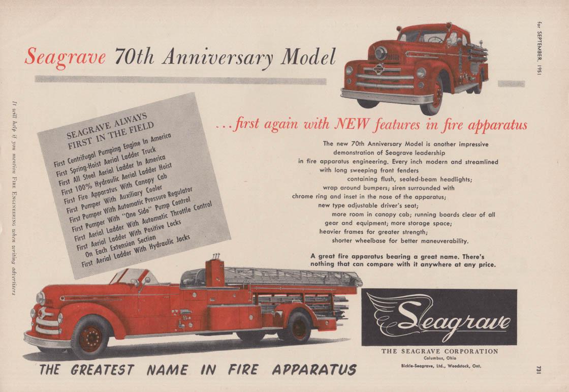 70th Anniversary Model Pumper & Lader firetruck Seagrave ad 1951