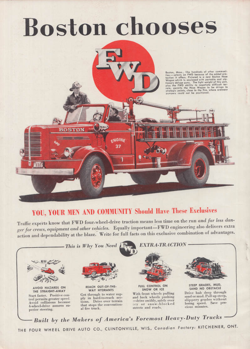 Boston Chooses FWD Hose Wagon fire truck ad 1950