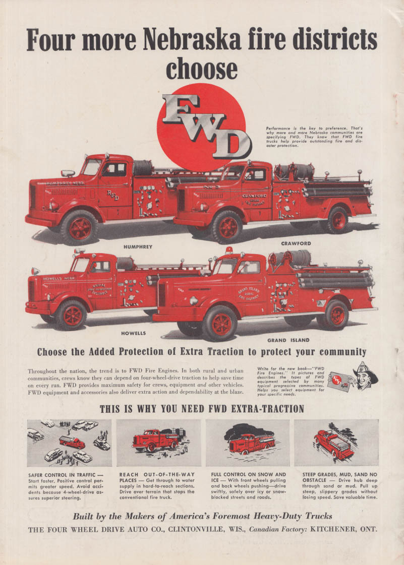 4 more Nebraska fire districts choose FWD Pumper fire trucks ad 1952