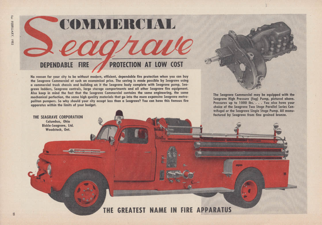 Dependable Protection at Low Cost: Seagrave Commercial Fire Pumper truck ad 1951