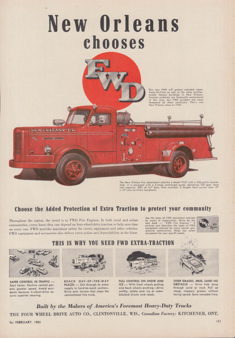 Image for New Orleans Chooses FWD Model F75T Pumper fire truck ad 1953
