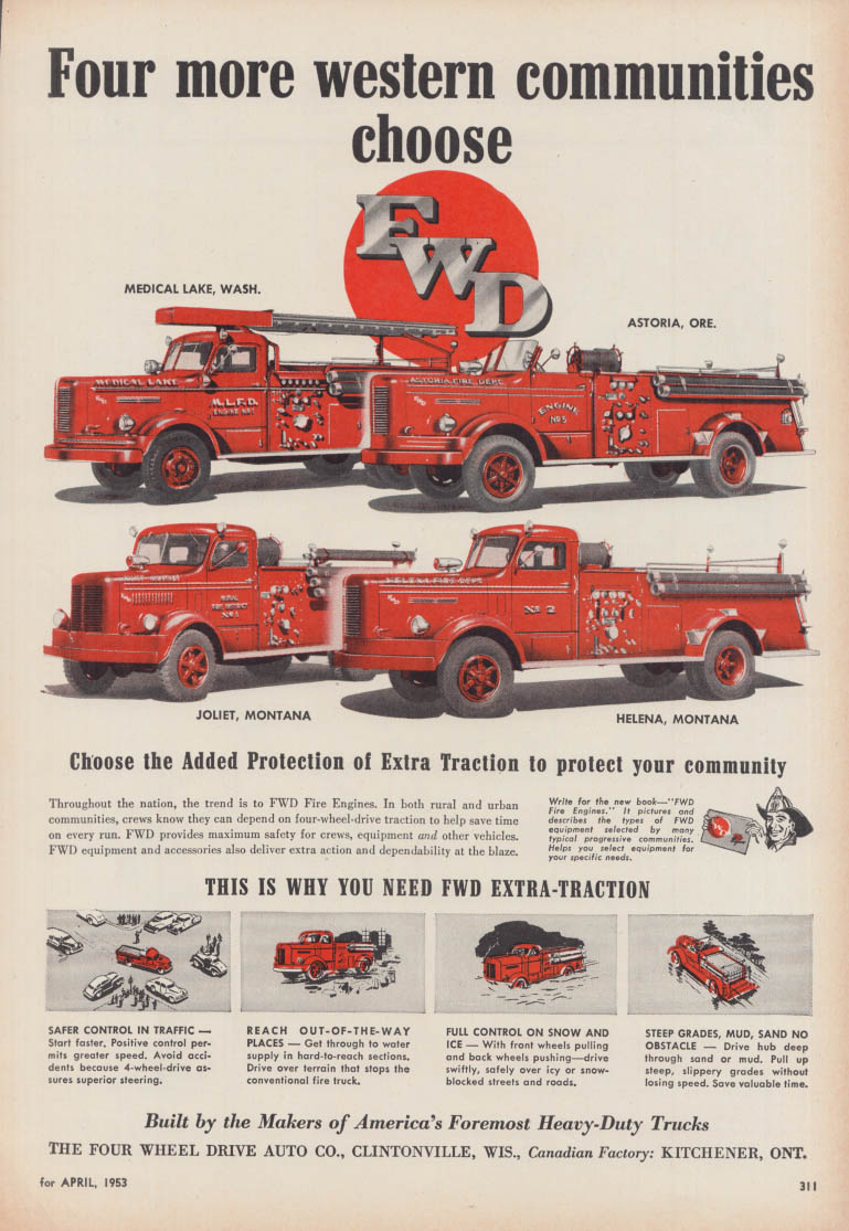 4 more western communities choose WFD Fire Trucks ad 1953 WA OR MT