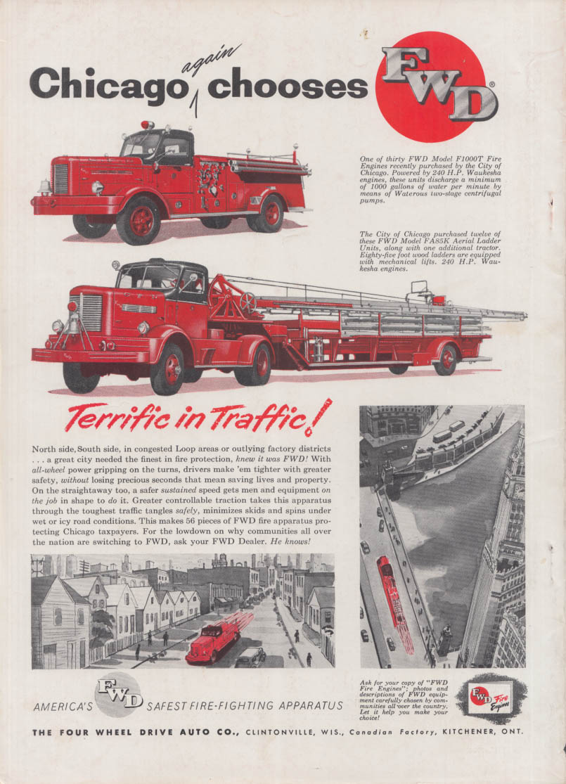 Chicago again chooses FWD F1000T Pumper & FA85K ladder fire truck ad 1954
