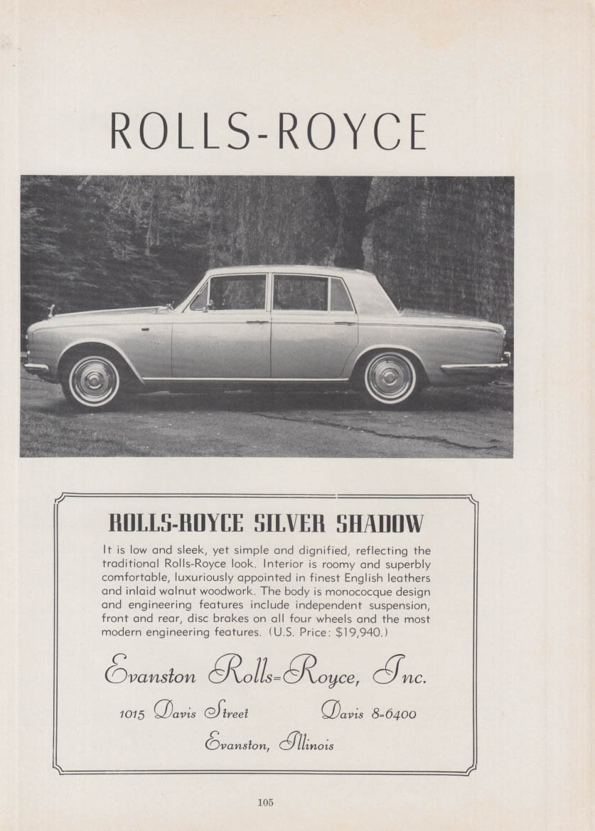 Image for The Rolls-Royce Silver Shadow is low & sleek ad 1967