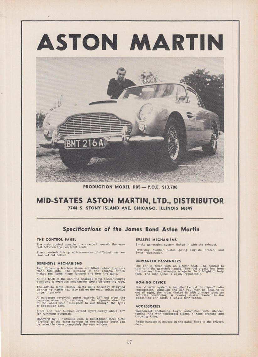 POE $13,700: Aston Martin Production Model DB5 ad 1966 Connery James Bond 007